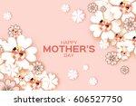 pastel flower greeting card... | Shutterstock .eps vector #606527750
