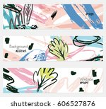 roughly sketched leaves white... | Shutterstock .eps vector #606527876