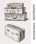 sketches of the old suitcases | Shutterstock .eps vector #606530654