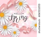 hello spring pink background... | Shutterstock .eps vector #606531053