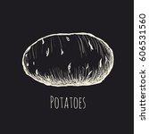 potato on a black background   | Shutterstock .eps vector #606531560