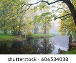 autumn foggy morning by the...   Shutterstock . vector #606534038