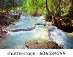 kuangsi  waterfall in deep... | Shutterstock . vector #606534299