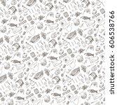 spain doodle food pattern... | Shutterstock .eps vector #606538766