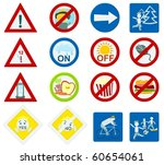 set of a various signs and...