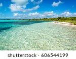 beautiful caribbean sea... | Shutterstock . vector #606544199