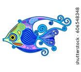 angelfish exotic ornamental... | Shutterstock .eps vector #606548348