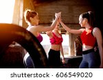 group fitness females training... | Shutterstock . vector #606549020