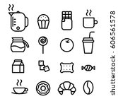 coffee break set of outline... | Shutterstock .eps vector #606561578