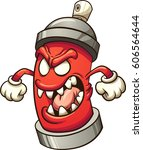 cartoon graffiti spray can... | Shutterstock .eps vector #606564644