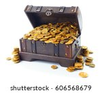 open treasure chest filled with ... | Shutterstock . vector #606568679