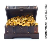 open treasure chest filled with ... | Shutterstock . vector #606568703