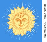 hand drawn sun with face and... | Shutterstock .eps vector #606573698