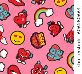 valentines day seamless pattern ... | Shutterstock .eps vector #606580664