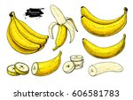 banana set vector drawing.... | Shutterstock .eps vector #606581783