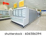 refrigerated counter for food. | Shutterstock . vector #606586394