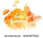 abstract painted splash shape... | Shutterstock .eps vector #606587060