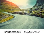 driving a car on mountain road. ... | Shutterstock . vector #606589910