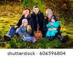 happy big family in autumn park ... | Shutterstock . vector #606596804
