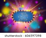 best summer night brush script... | Shutterstock .eps vector #606597398