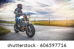 motorbike on the road riding.... | Shutterstock . vector #606597716
