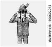 man in costume looking through... | Shutterstock .eps vector #606602093