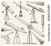 set of astronomical instruments ... | Shutterstock .eps vector #606602489