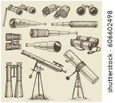 set of astronomical instruments ... | Shutterstock .eps vector #606602498