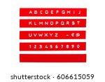 embossed alphabet on red...   Shutterstock . vector #606615059