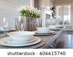 modern new kitchen table picnic ... | Shutterstock . vector #606615740