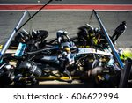 Small photo of Barcelona, Spain - February 27 / March 2, 2017: Lewis Hamilton, Mercedes AMG Petronas F1 Team driver on fast Formula One pit stop at Formula One testing at Catalunya circuit in Barcelona, Spain.