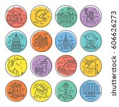 vector set of line icons with... | Shutterstock .eps vector #606626273