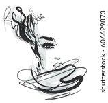 vector  stylish  original hand... | Shutterstock .eps vector #606629873