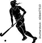 women's field hockey  | Shutterstock .eps vector #606647510