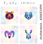 set of multicolored animal... | Shutterstock .eps vector #606651494