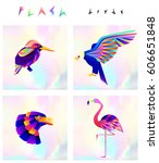 set of multicolored bird icons... | Shutterstock .eps vector #606651848