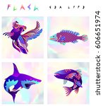 set of multicolored fish and... | Shutterstock .eps vector #606651974