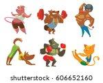 vector set of six cartoon... | Shutterstock .eps vector #606652160