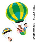 families enjoying with hot air... | Shutterstock . vector #606657863