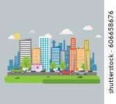 city background | Shutterstock .eps vector #606658676