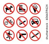 prohibition signs set safety...