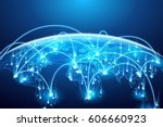 abstract of world network ... | Shutterstock .eps vector #606660923