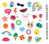 pop art fashion chic patches ... | Shutterstock .eps vector #606661859