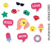 pop art fashion chic patches ... | Shutterstock .eps vector #606661880