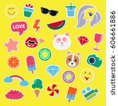 pop art fashion chic patches ... | Shutterstock .eps vector #606661886