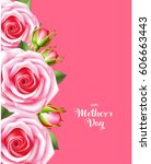 mother's day card with pink... | Shutterstock .eps vector #606663443