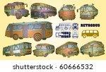 Vintage Bus Set (vector) - stock vector