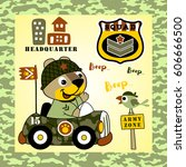 animal soldier driving military ... | Shutterstock .eps vector #606666500