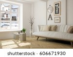 white room with sofa and winter ... | Shutterstock . vector #606671930