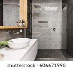 marble mosaic herringbone tiled ... | Shutterstock . vector #606671990